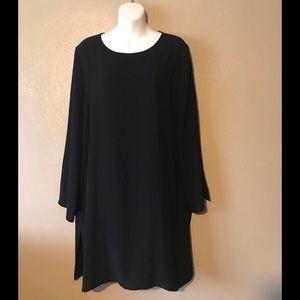 Eileen Fisher Silk Georgette Crepe Black Tunic M
